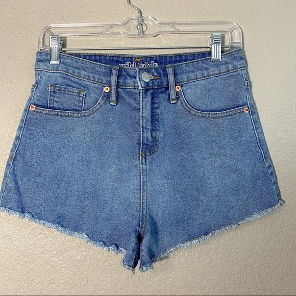 High Waist Raw Hem Denim Shorts 4